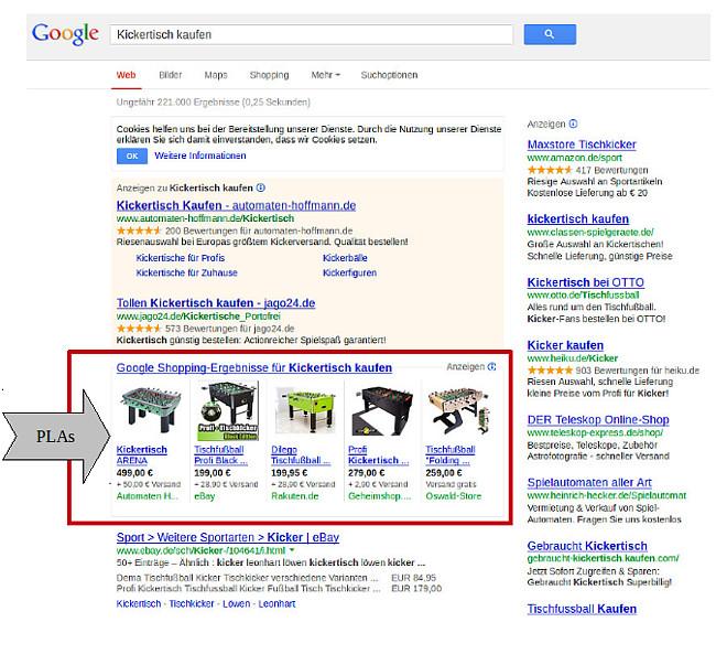 Google Shopping Beispiel Ansicht 2013