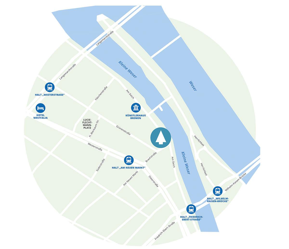 detaillierte Anfahrtskarte zu lindbaum in Bremen