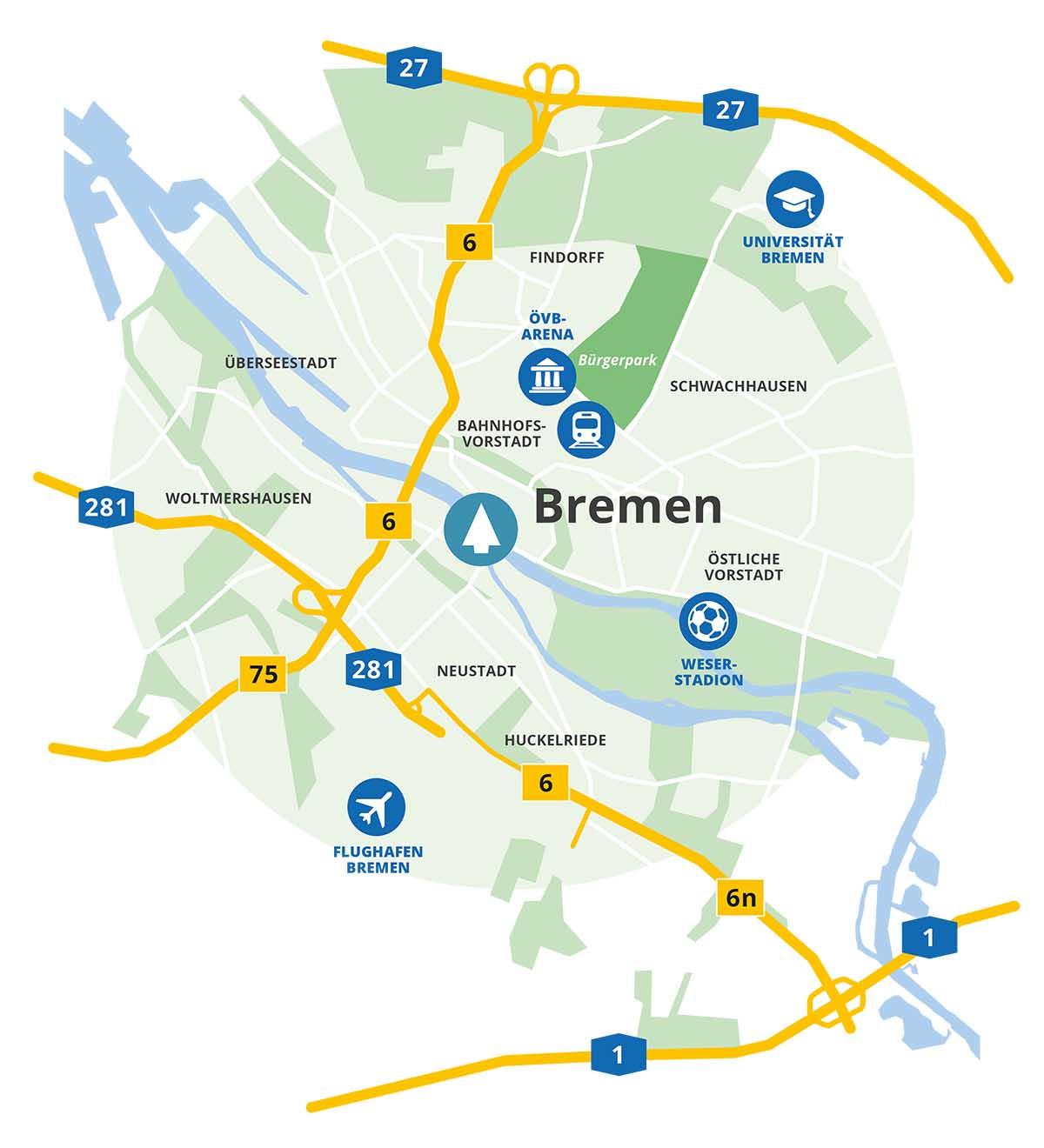 Anfahrtskarte zu lindbaum in Bremen