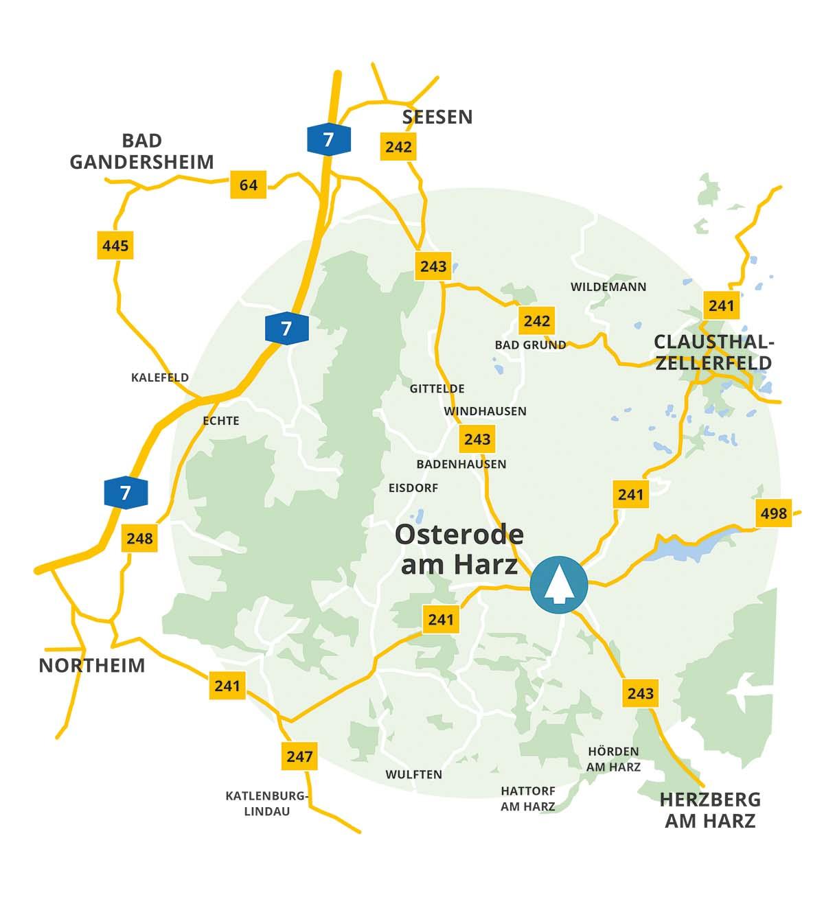 Anfahrtskarte zu lindbaum in Osterode am Harz